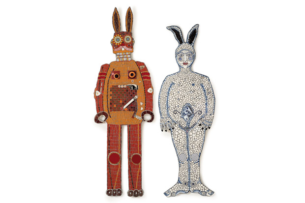 Robo Bunny and Blue Rinse Babe with a Bun in the Oven